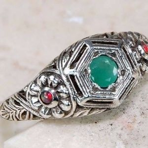 Jewelry - 1CT Emerald and Opal 925 Silver Size 6